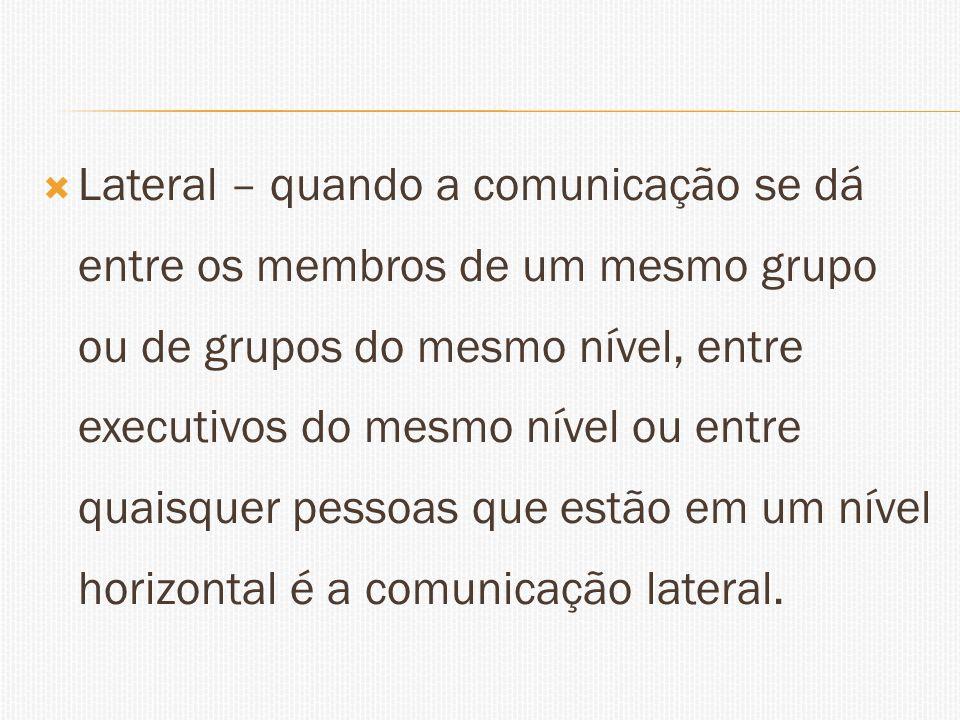 Lateral – quando a comunicação se dá entre os membros de um mesmo grupo ou de grupos do mesmo nível, entre executivos do mesmo nível ou entre quaisquer pessoas que estão em um nível horizontal é a comunicação lateral.