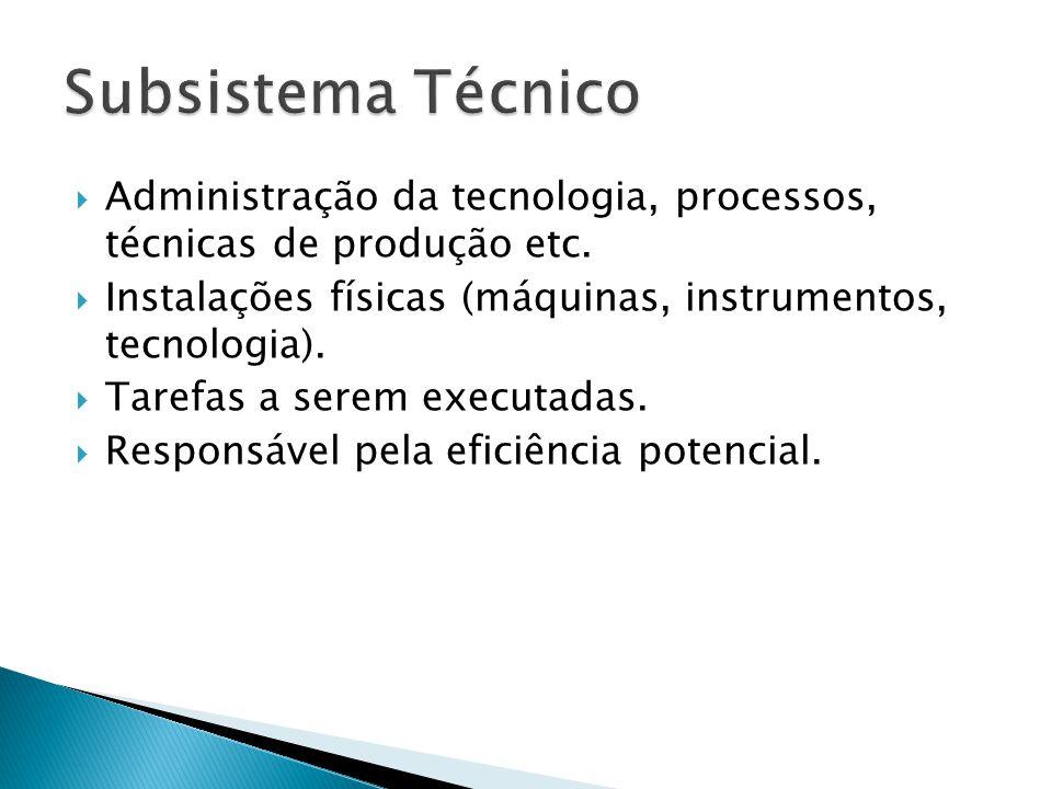Subsistema Técnico Administração da tecnologia, processos, técnicas de produção etc. Instalações físicas (máquinas, instrumentos, tecnologia).