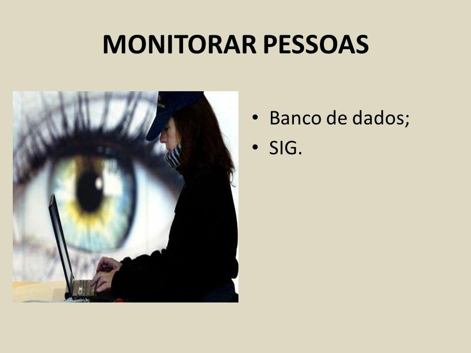 MONITORAR PESSOAS Banco de dados; SIG.