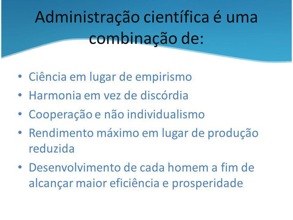 Administração científica é uma combinação de: