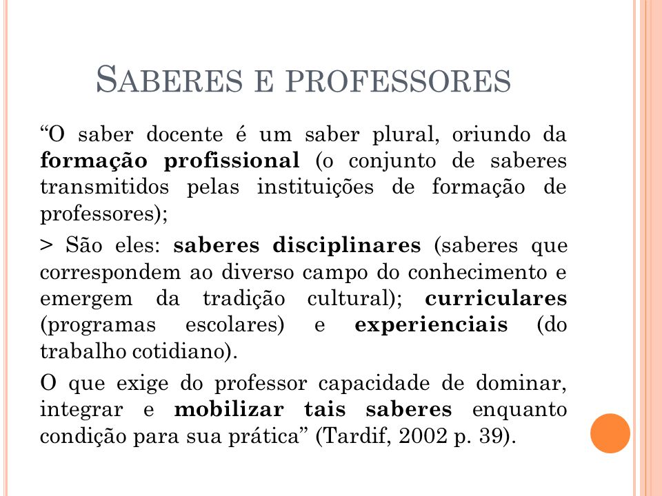 Saberes e professores