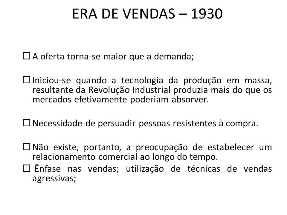 ERA DE VENDAS – 1930 A oferta torna-se maior que a demanda;
