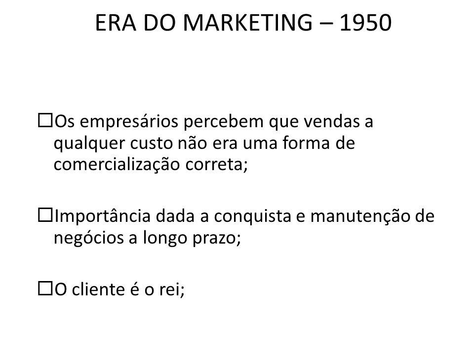 ERA DO MARKETING – 1950 Os empresários percebem que vendas a qualquer custo não era uma forma de comercialização correta;