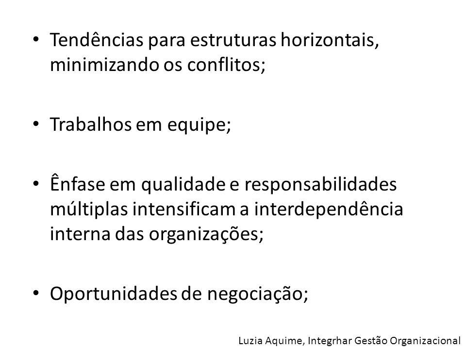 Tendências para estruturas horizontais, minimizando os conflitos;