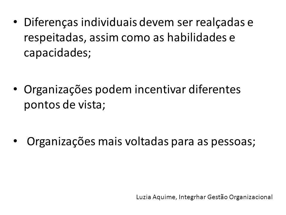 Organizações podem incentivar diferentes pontos de vista;