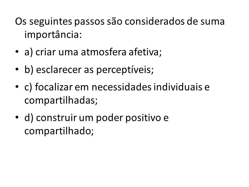 Os seguintes passos são considerados de suma importância: