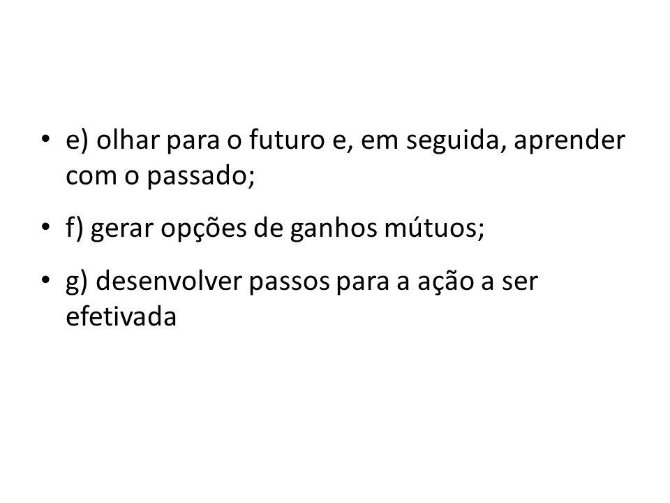 e) olhar para o futuro e, em seguida, aprender com o passado;