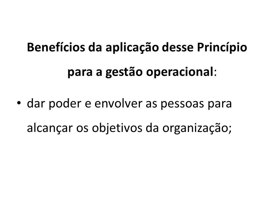 Benefícios da aplicação desse Princípio para a gestão operacional: