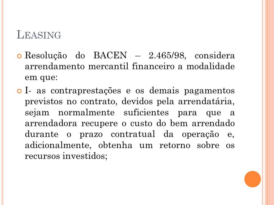Leasing Resolução do BACEN – 2.465/98, considera arrendamento mercantil financeiro a modalidade em que: