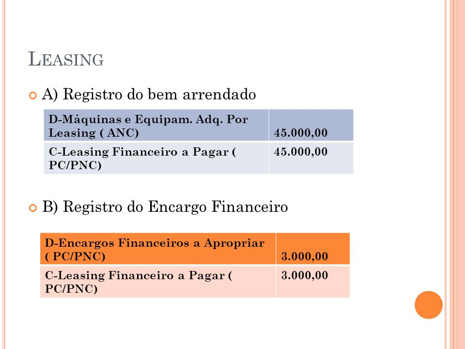 Leasing A) Registro do bem arrendado B) Registro do Encargo Financeiro