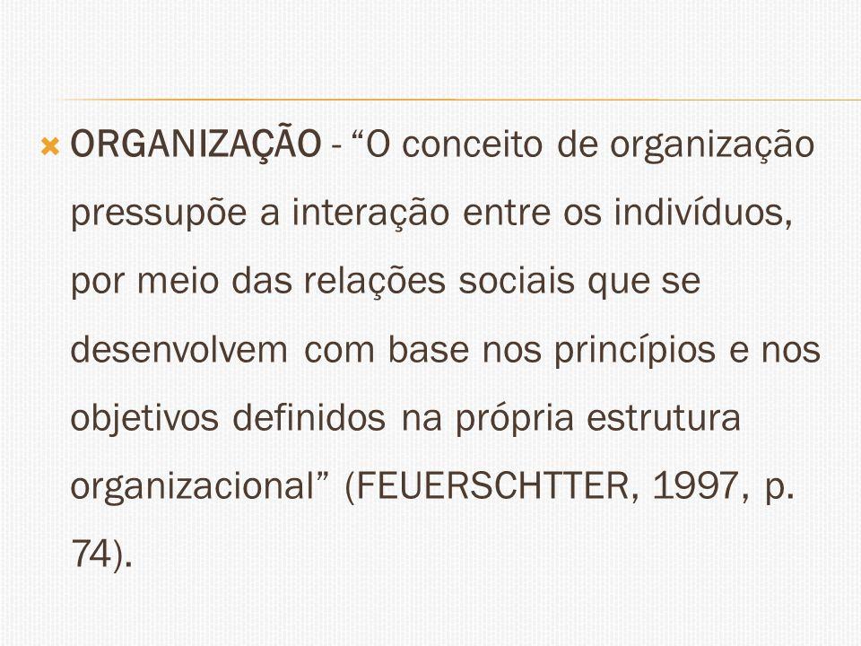 ORGANIZAÇÃO - O conceito de organização pressupõe a interação entre os indivíduos, por meio das relações sociais que se desenvolvem com base nos princípios e nos objetivos definidos na própria estrutura organizacional (FEUERSCHTTER, 1997, p.