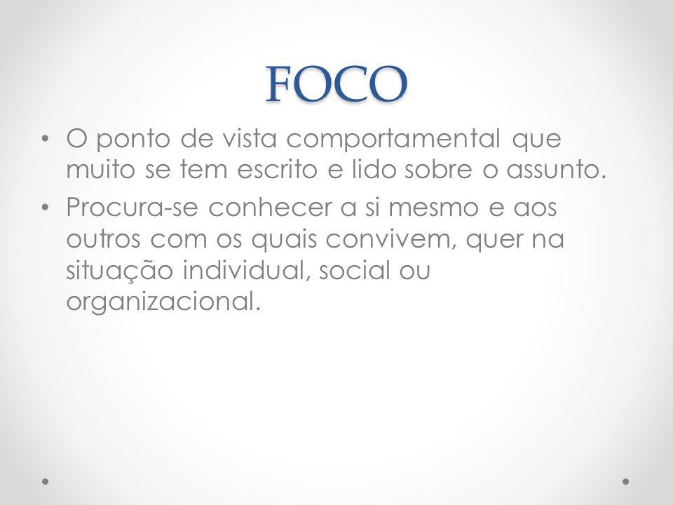 FOCO O ponto de vista comportamental que muito se tem escrito e lido sobre o assunto.