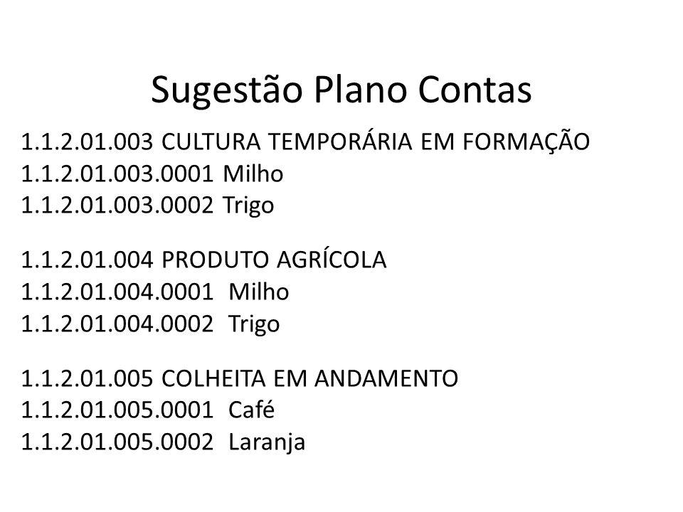 Sugestão Plano Contas 1.1.2.01.003 CULTURA TEMPORÁRIA EM FORMAÇÃO
