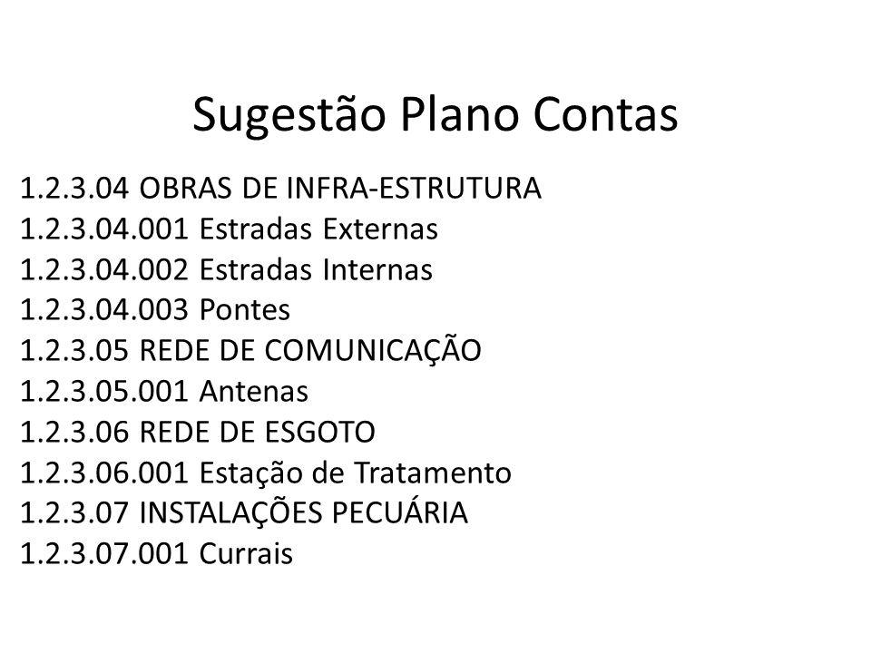 Sugestão Plano Contas 1.2.3.04 OBRAS DE INFRA-ESTRUTURA