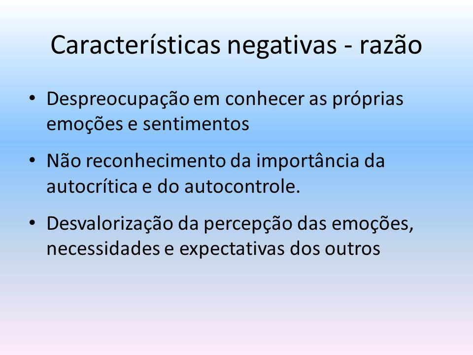 Características negativas - razão