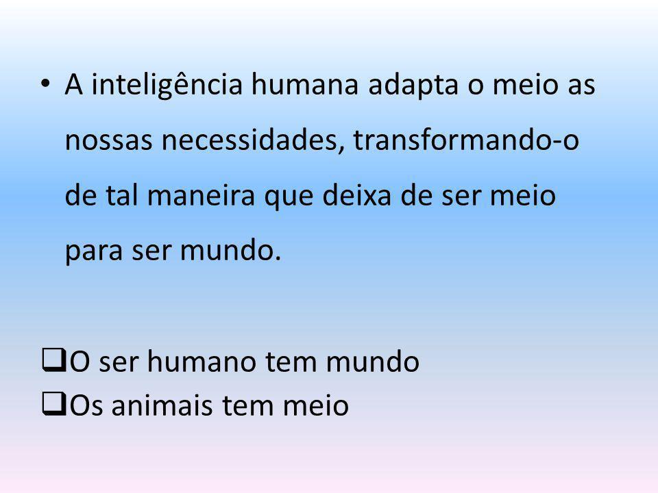 A inteligência humana adapta o meio as nossas necessidades, transformando-o de tal maneira que deixa de ser meio para ser mundo.