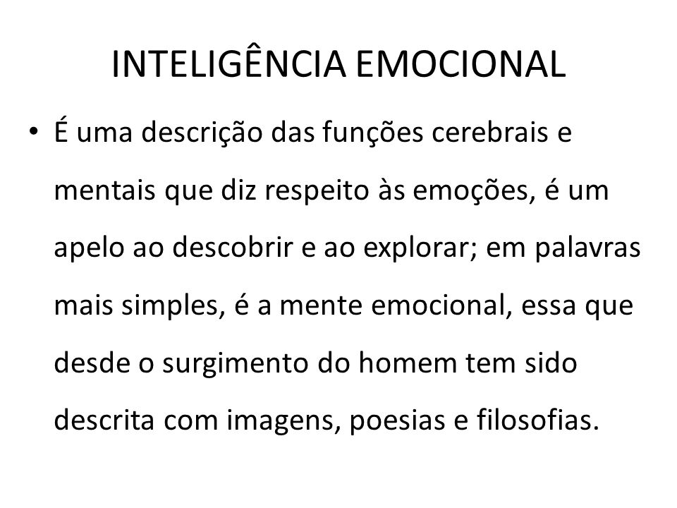 INTELIGÊNCIA EMOCIONAL