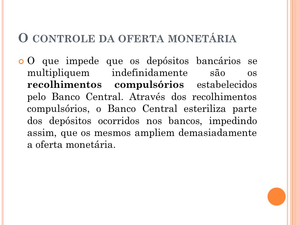O controle da oferta monetária
