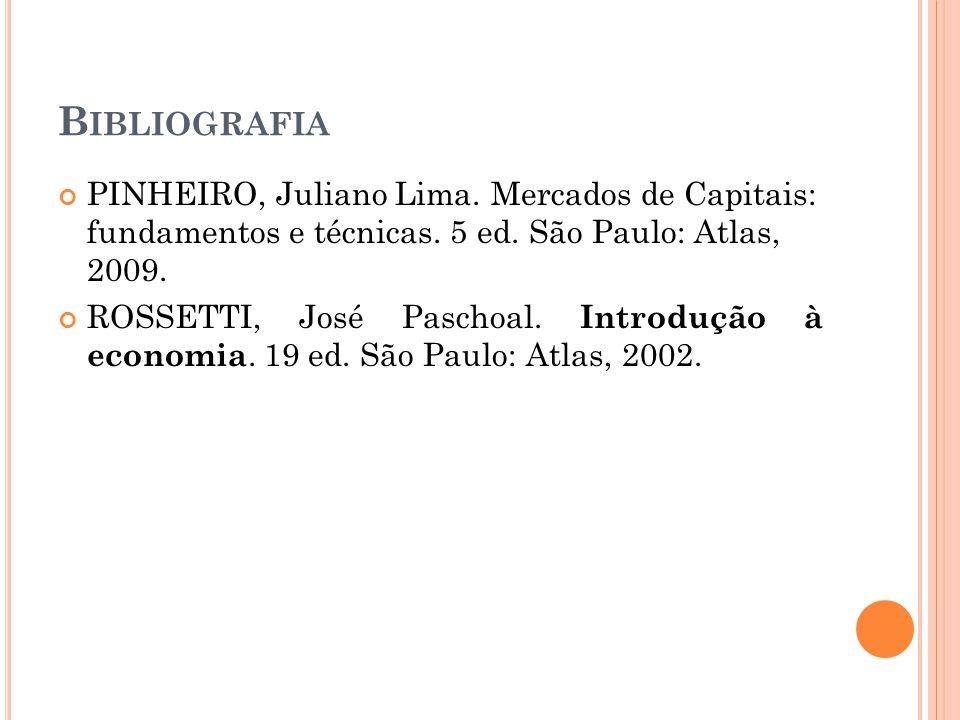 Bibliografia PINHEIRO, Juliano Lima. Mercados de Capitais: fundamentos e técnicas. 5 ed. São Paulo: Atlas, 2009.