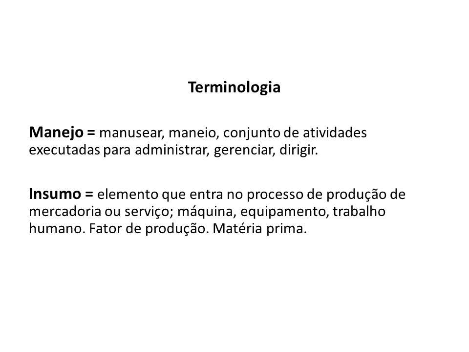 Terminologia Manejo = manusear, maneio, conjunto de atividades executadas para administrar, gerenciar, dirigir.