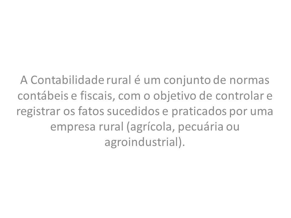 A Contabilidade rural é um conjunto de normas contábeis e fiscais, com o objetivo de controlar e registrar os fatos sucedidos e praticados por uma empresa rural (agrícola, pecuária ou agroindustrial).