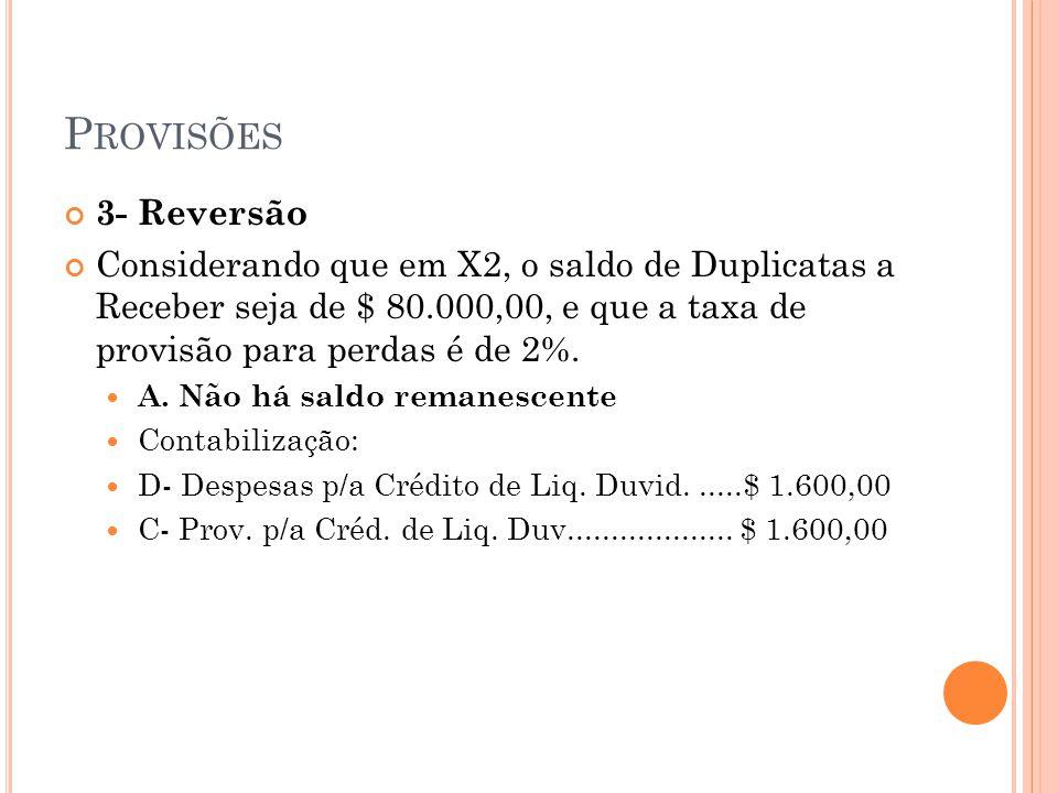Provisões 3- Reversão. Considerando que em X2, o saldo de Duplicatas a Receber seja de $ 80.000,00, e que a taxa de provisão para perdas é de 2%.