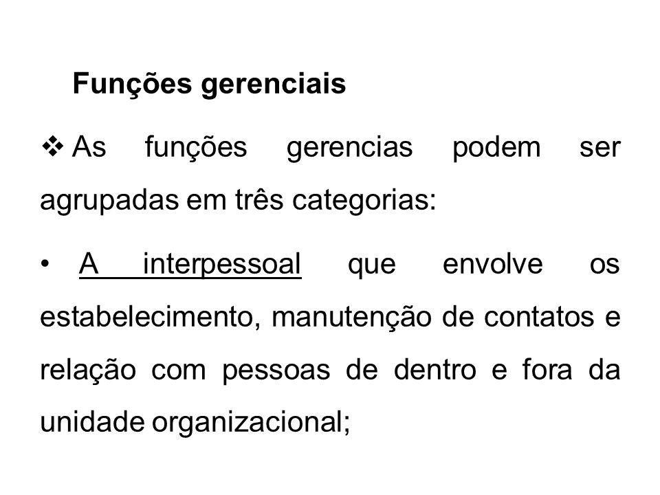 Funções gerenciais As funções gerencias podem ser agrupadas em três categorias:
