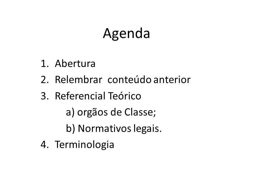 Agenda Abertura Relembrar conteúdo anterior Referencial Teórico