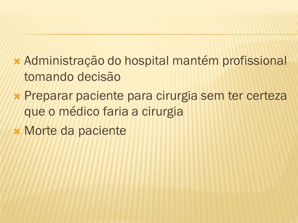 Administração do hospital mantém profissional tomando decisão