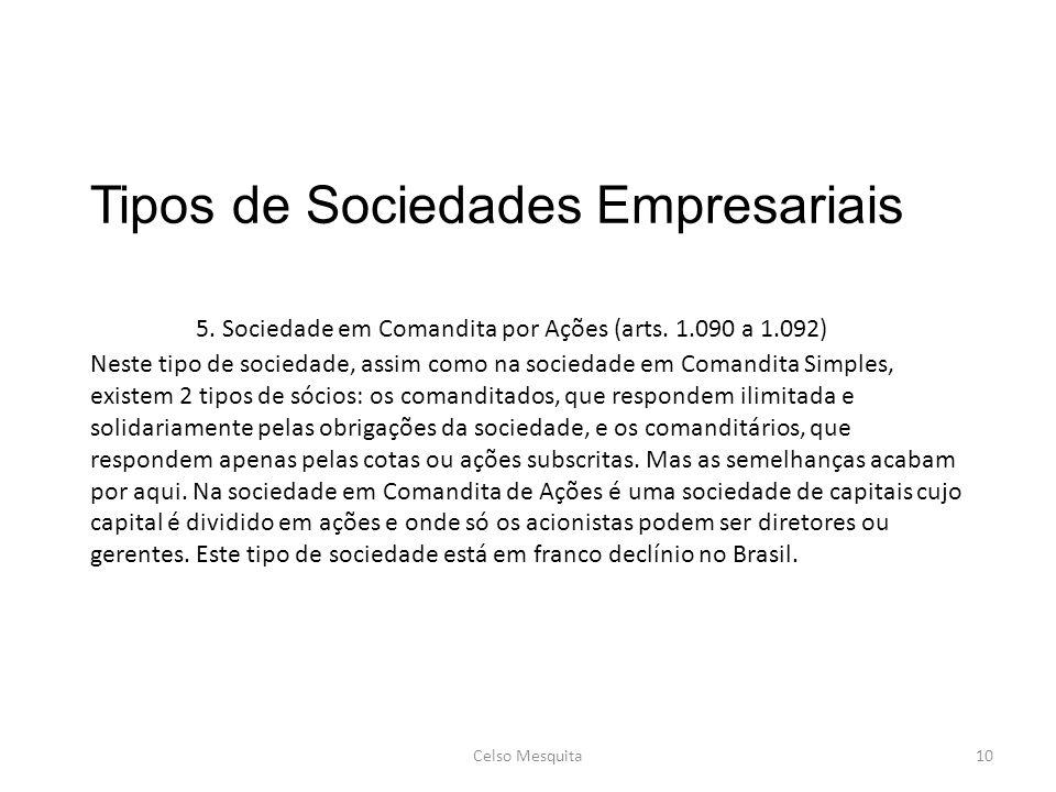 Tipos de Sociedades Empresariais. 5