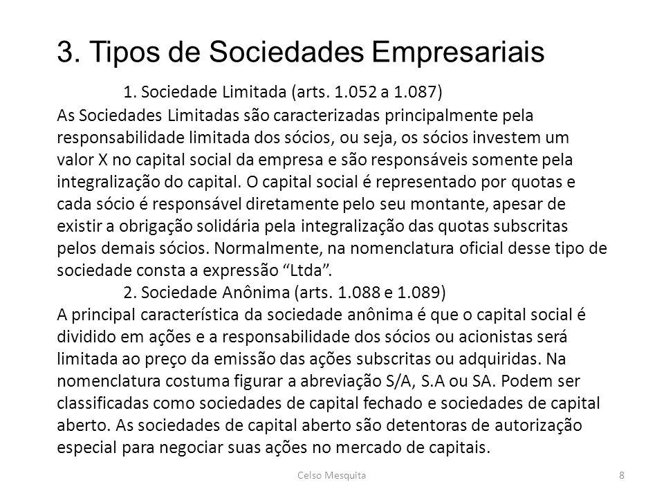 3. Tipos de Sociedades Empresariais. 1. Sociedade Limitada (arts. 1