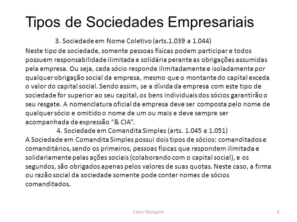 Tipos de Sociedades Empresariais. 3. Sociedade em Nome Coletivo (arts