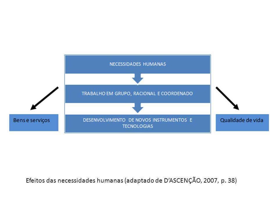 Efeitos das necessidades humanas (adaptado de D'ASCENÇÃO, 2007, p. 38)
