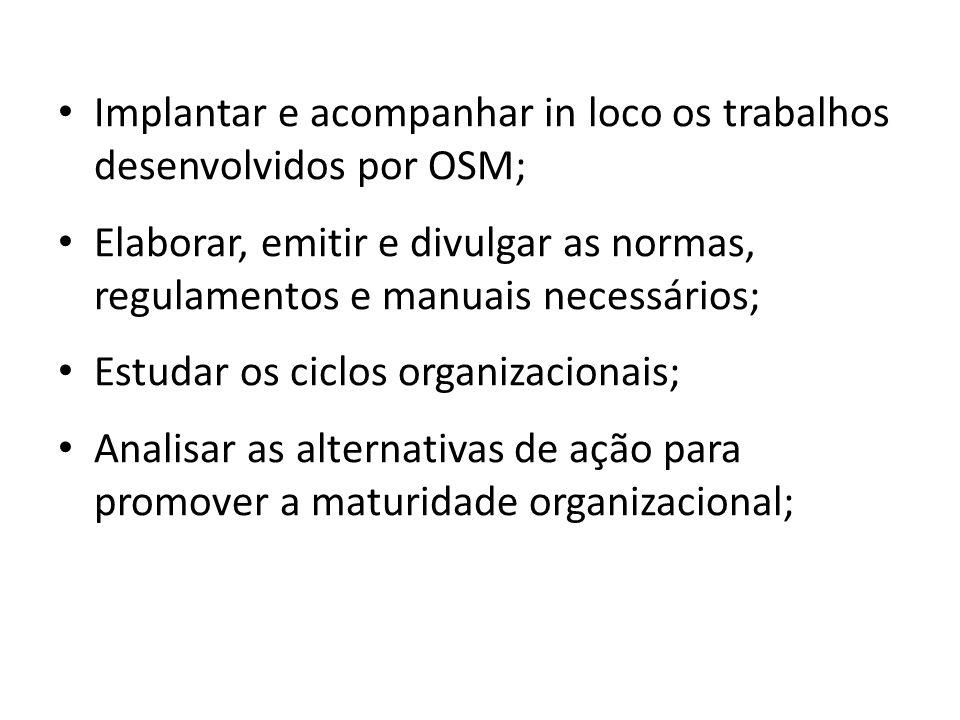 Implantar e acompanhar in loco os trabalhos desenvolvidos por OSM;