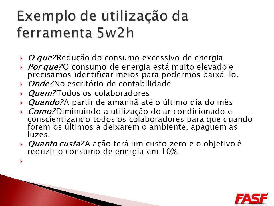 Exemplo de utilização da ferramenta 5w2h