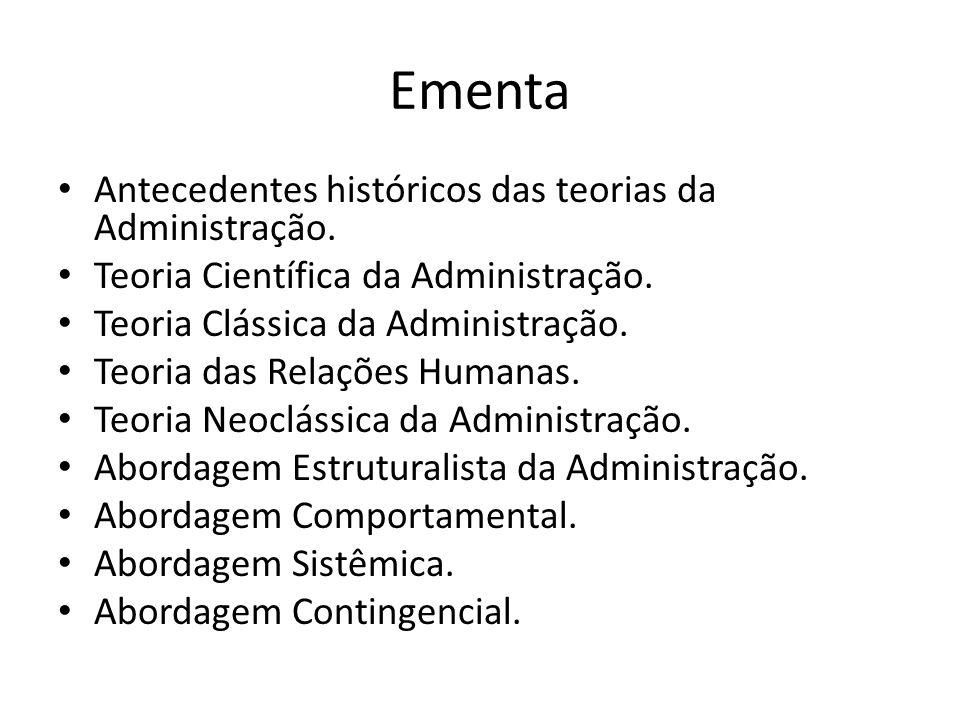 Ementa Antecedentes históricos das teorias da Administração.