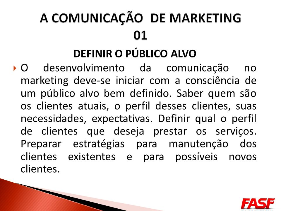 A COMUNICAÇÃO DE MARKETING 01