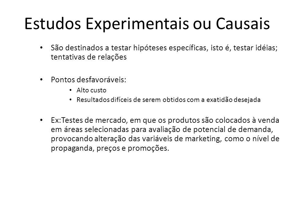 Estudos Experimentais ou Causais