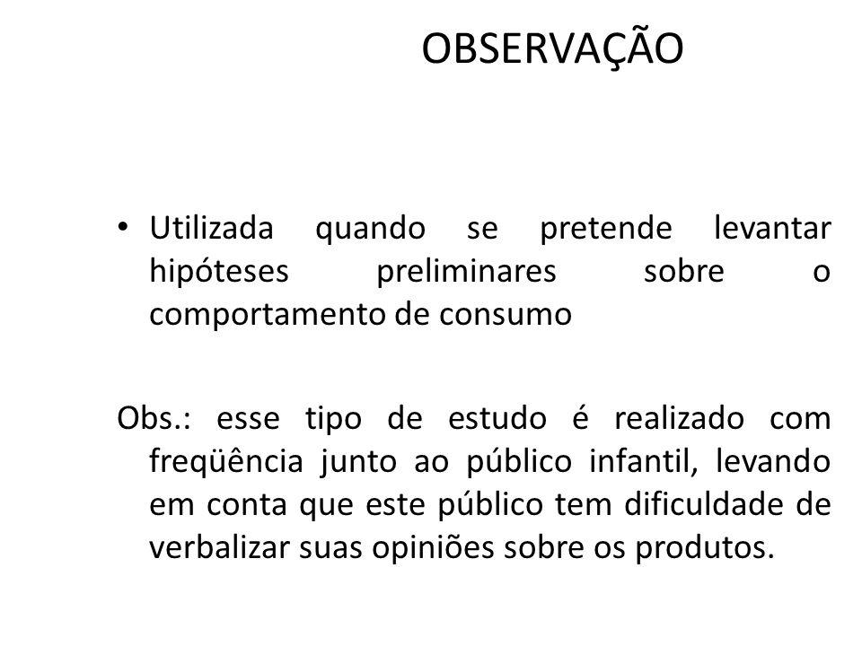OBSERVAÇÃO Utilizada quando se pretende levantar hipóteses preliminares sobre o comportamento de consumo.