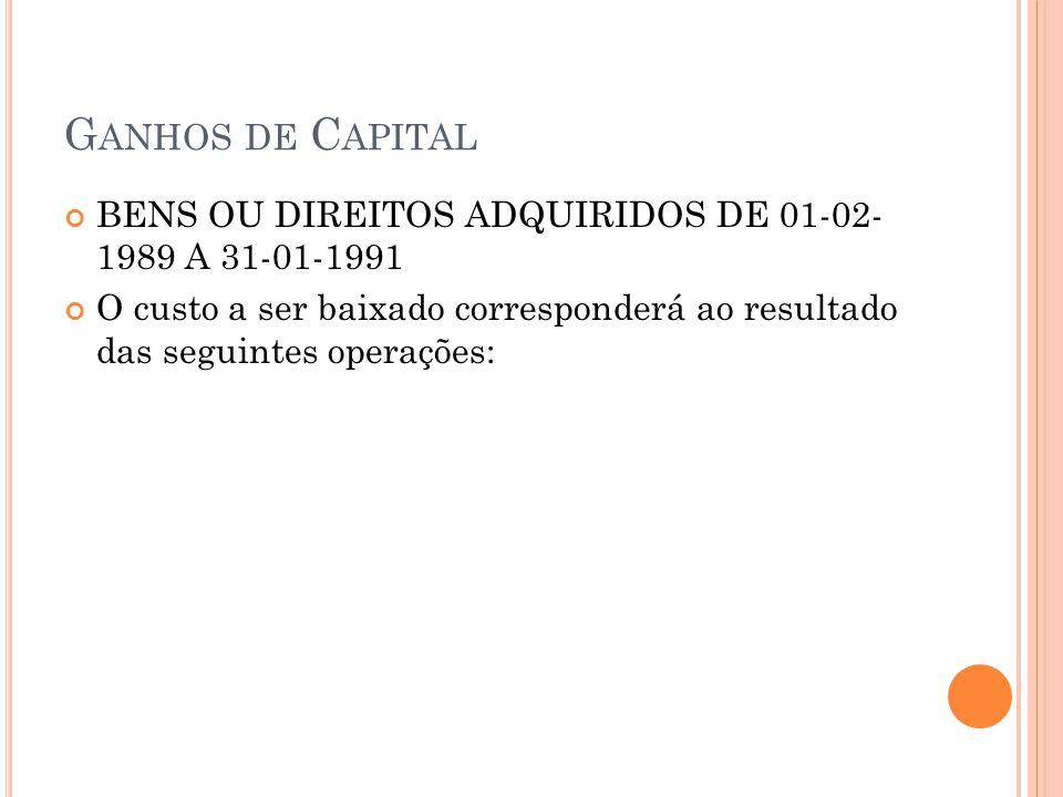 Ganhos de Capital BENS OU DIREITOS ADQUIRIDOS DE 01-02- 1989 A 31-01-1991.