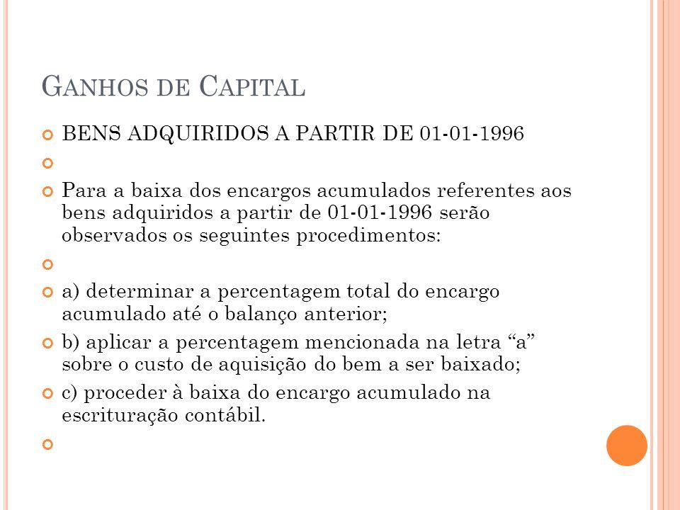Ganhos de Capital BENS ADQUIRIDOS A PARTIR DE 01-01-1996