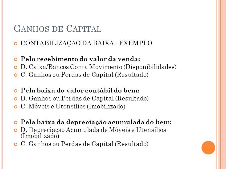 Ganhos de Capital CONTABILIZAÇÃO DA BAIXA - EXEMPLO