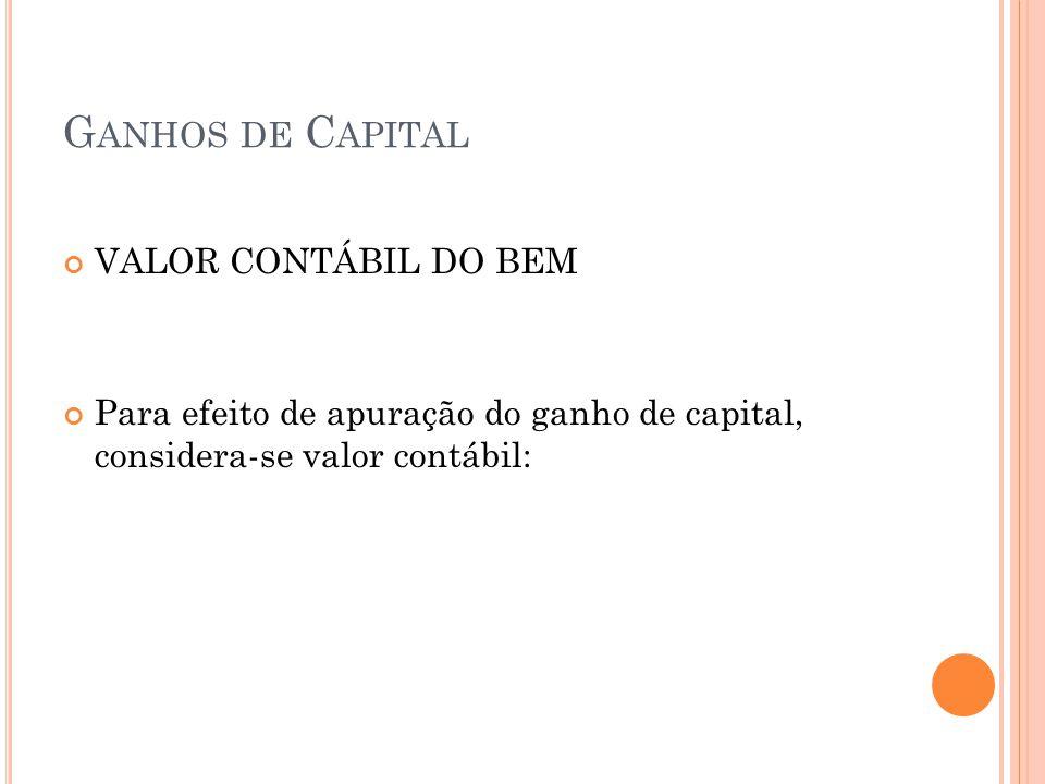 Ganhos de Capital VALOR CONTÁBIL DO BEM