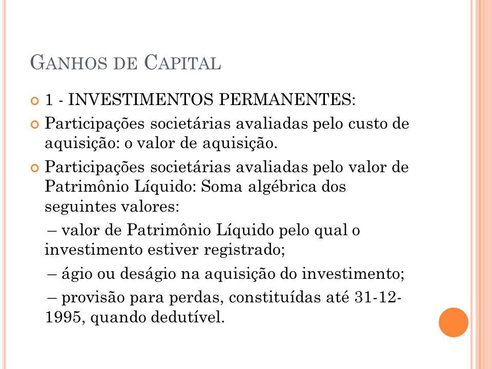 Ganhos de Capital 1 - INVESTIMENTOS PERMANENTES: