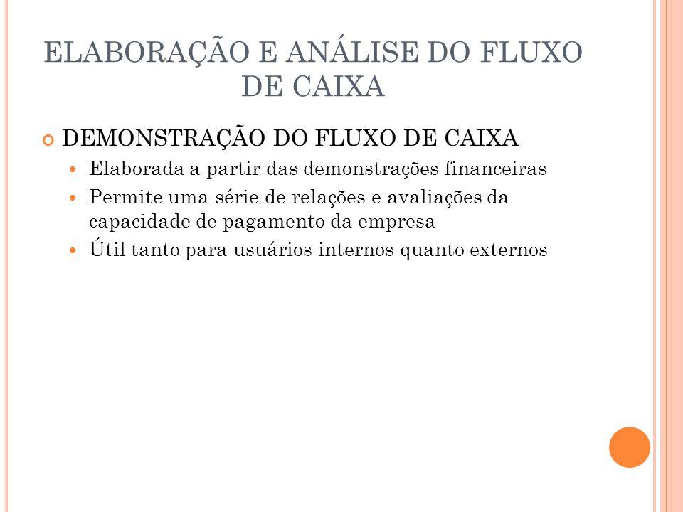 ELABORAÇÃO E ANÁLISE DO FLUXO DE CAIXA