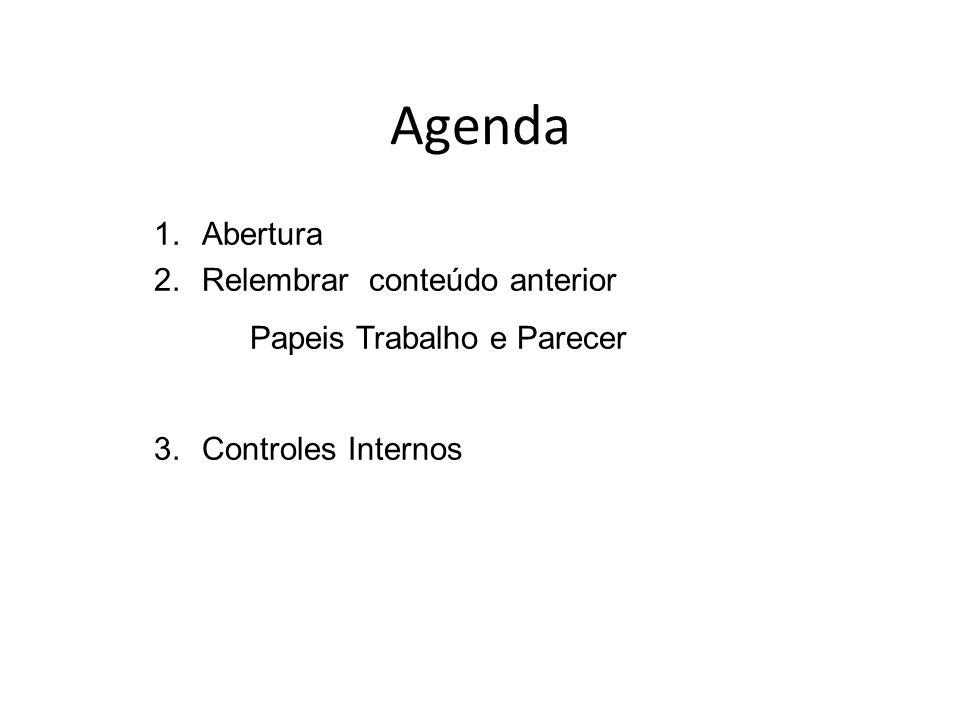Agenda Papeis Trabalho e Parecer Abertura Relembrar conteúdo anterior