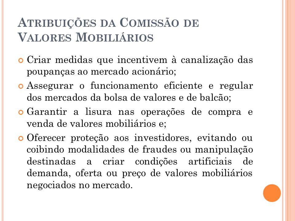 Atribuições da Comissão de Valores Mobiliários
