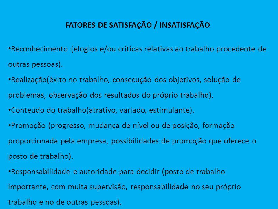 FATORES DE SATISFAÇÃO / INSATISFAÇÃO