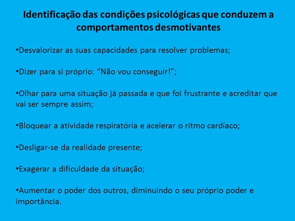 Identificação das condições psicológicas que conduzem a