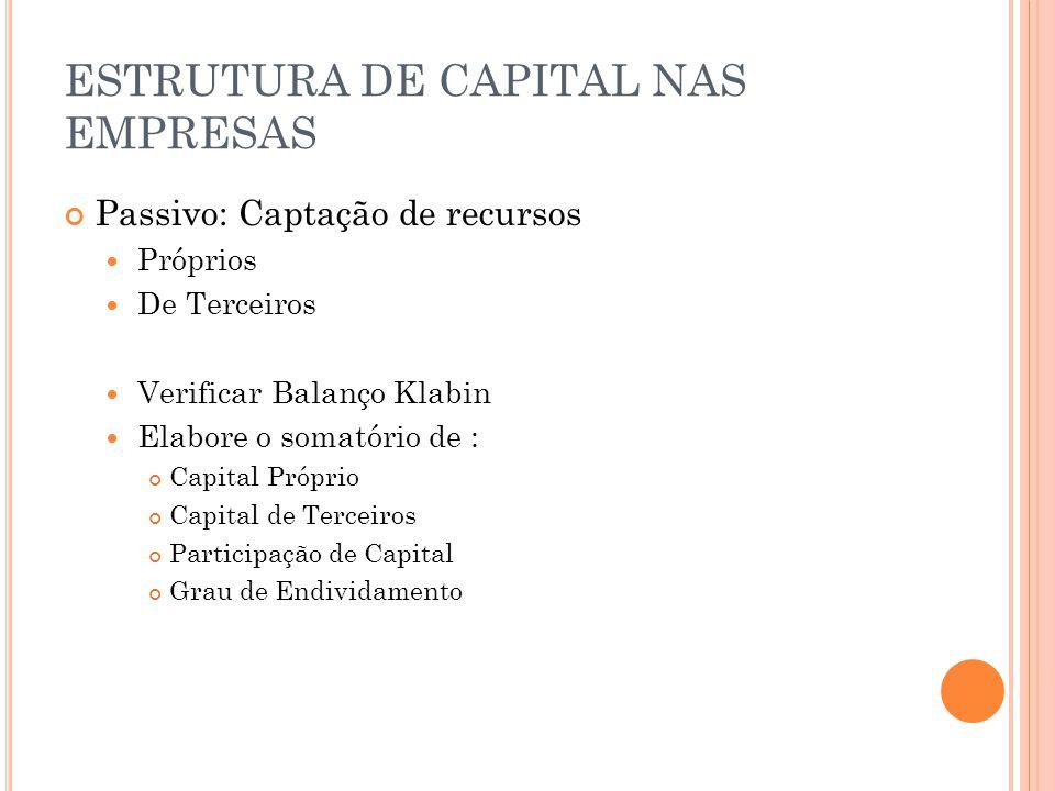 ESTRUTURA DE CAPITAL NAS EMPRESAS